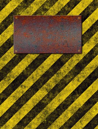 rusted: old grungy yellow warning sign with rusted metal plaque  Stock Photo