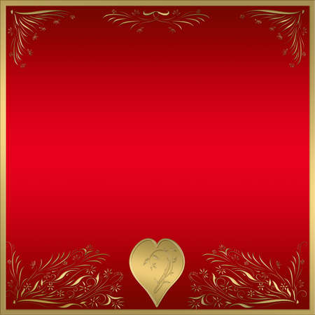 beautiful red and gold background frame with love heart photo