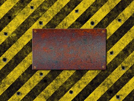 industrial hole: old grungy yellow hazard stripes with old plaque full of holes