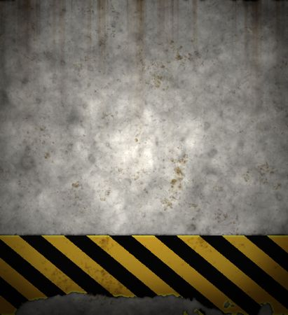 old pc: an old yellow and black hazard striped sign on a grungy concrete wall