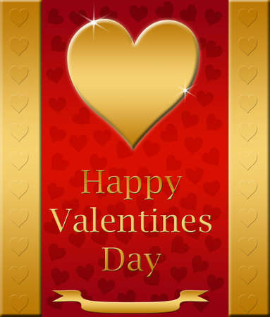 loveheart: beautiful red and gold valentines card  Stock Photo