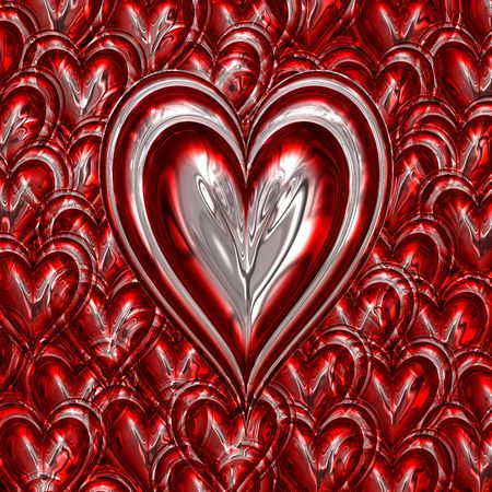 loveheart: red and silver metallic loveheart on heart background