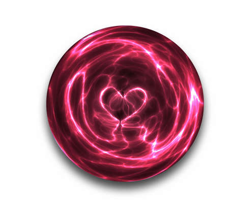 a love heart is seen the sparks and arcs of this crystal ball Stock Photo - 2438432