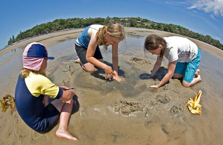sandcastles: three girls digging and bulding sand castles at the beach
