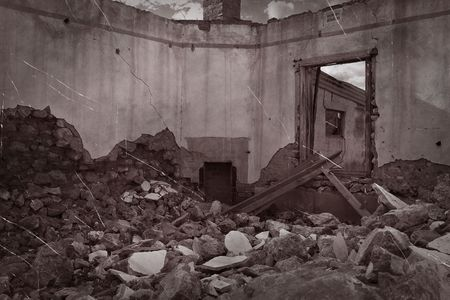 forgotten: old scratched and dirty photo of ruins and rubble Stock Photo