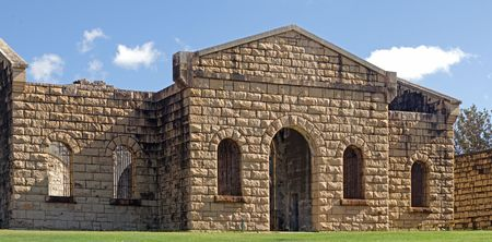 old stone trial bay gaol front entrance Stock Photo - 2567669