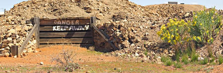 tailings: old closed entrance at daydream mine Stock Photo