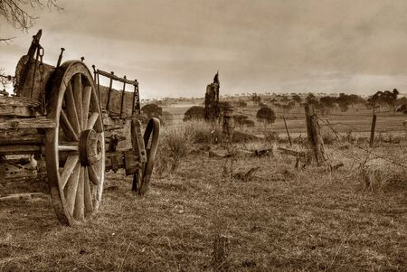 old wood farm wagon: old scratched and dirty photo of wagon or cart Stock Photo