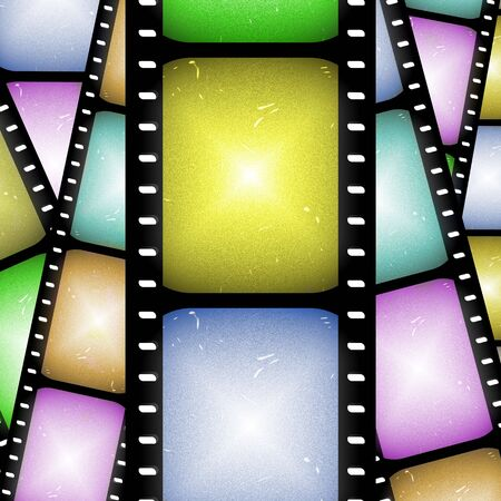 abstract composition of movie frames or film strip photo