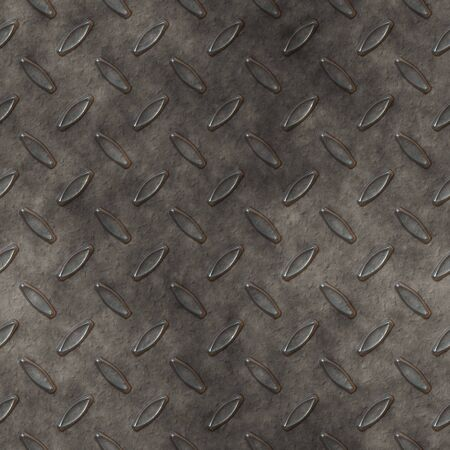 treadplate: old seamless worn and rough diamond plate background  Stock Photo