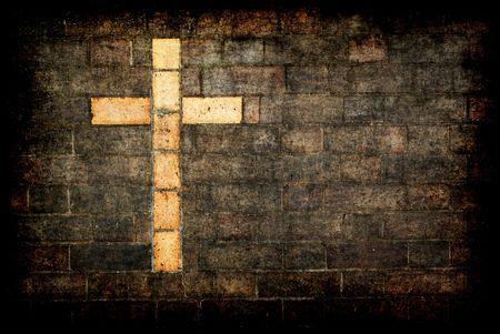 cruz religiosa: grungy cruz de Cristo construido en una pared de ladrillo como fondo
