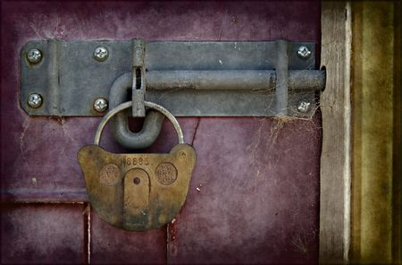 big old lock keeps this door shut Stock Photo - 2671598