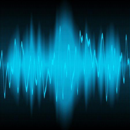 geluidsgolven: blauw geluidsgolven oscillerende op zwarte achtergrond