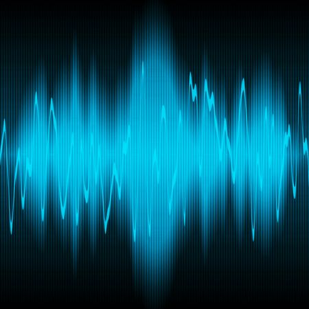 blue sound waves oscillating on black background