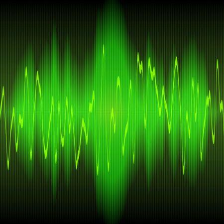 green sound waves oscillating on black background photo