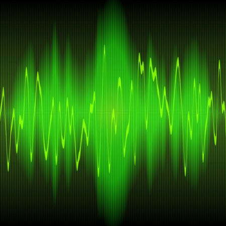 oscillations: green sound waves oscillating on black background