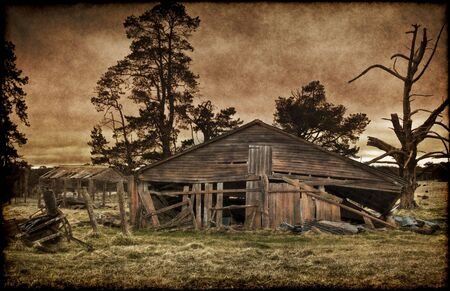 derelict: this old derelict farm house is falling down