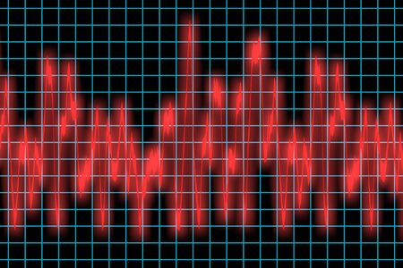 erratic: a pulsating and erratic heart monitor or sound wave
