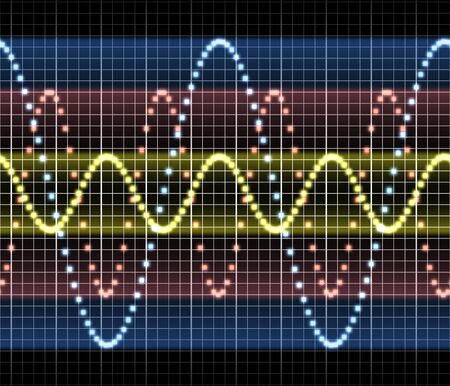 oscillations: a great triple sound audio or other electronic technology sine wave Stock Photo