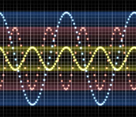 wellenl�nge: eine gro�e dreifache stichhaltige Audio- oder eine andere elektronische Technologiesinuswelle Lizenzfreie Bilder