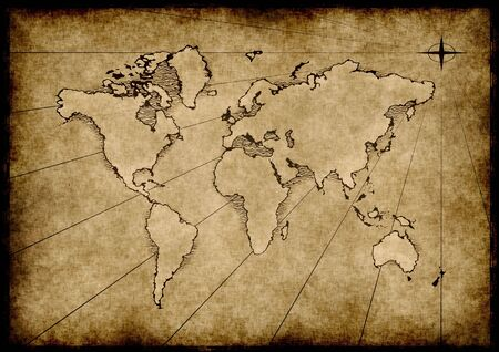 an old world map drawn onto parchment paper photo