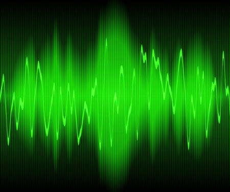vibration: green sound waves oscillating on black background