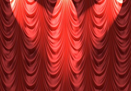 luxurious red velvet curtains such as on a stage or theatre with spotlights