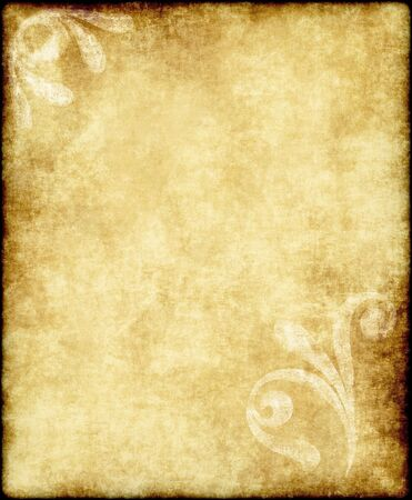large old paper or parchment background texture with large floral design