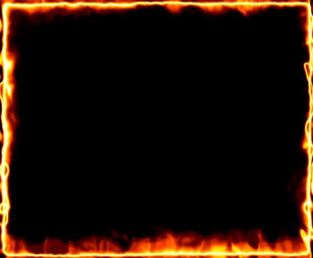 resplandor: marco de fuego y la quema en negro  Foto de archivo