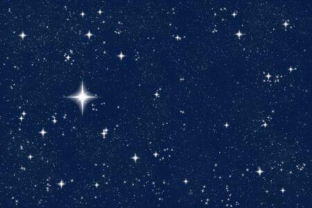 big bright wishing star in the night sky Stock Photo