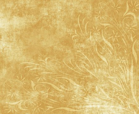 worn paper: large old paper or parchment background texture with floral design Stock Photo