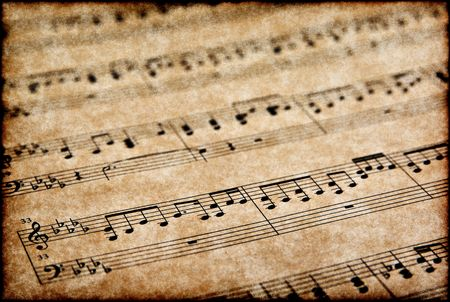 great image of musical notes on brown parchment paper Stock Photo - 3161585