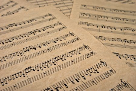 great image of musical notes on brown parchment paper Stock Photo - 3161558