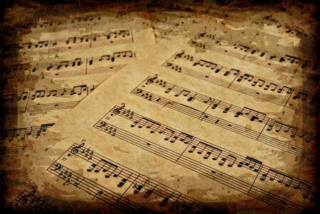 great image of musical notes on brown parchment paper Stock Photo - 3161573