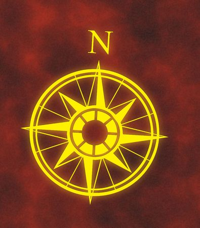 great glowing north arrow and compass on hot red background photo