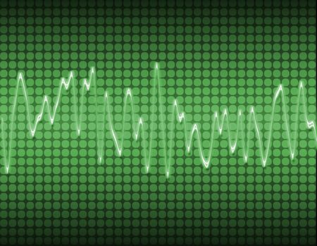 oscillations: large image of an electronic sine sound or audio wave in green