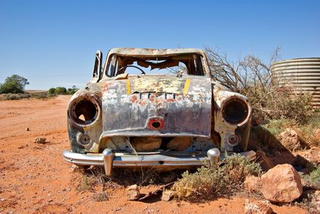 rusty car: old rusty car in the desert  Stock Photo