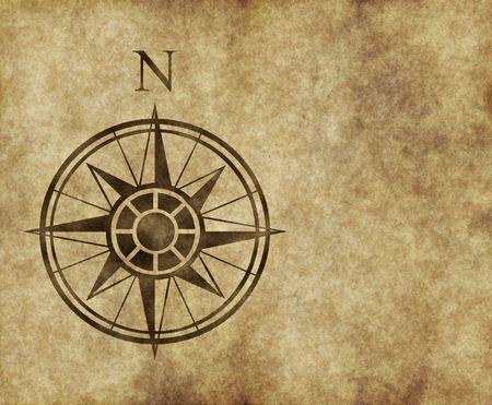 norte: gran flecha norte y brújula en el mapa antiguo pergamino con copia espacio
