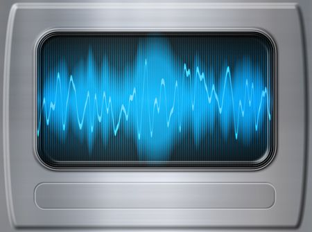great audio sound wave panel in brushed metal photo