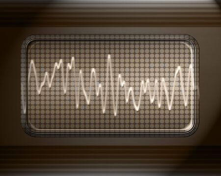 audiowave: sound or audio wave in metal panel Stock Photo