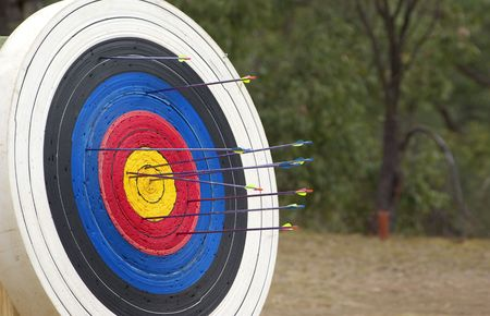 great image of a archery target full of arrows  photo