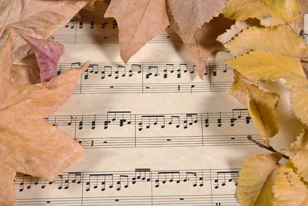 old parchment paper with music and fall or autumn leaves Stock Photo - 3617299