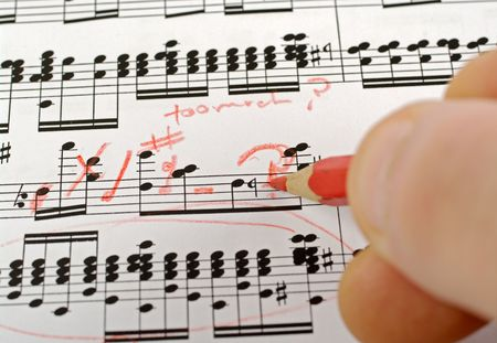 music notes composition on paper being written or marked Stock Photo - 3637178