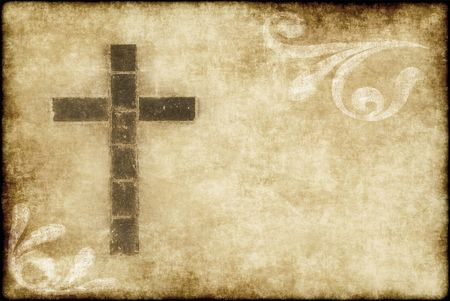cruz religiosa: gran imagen de una cruz cristiana en papel pergamino Foto de archivo