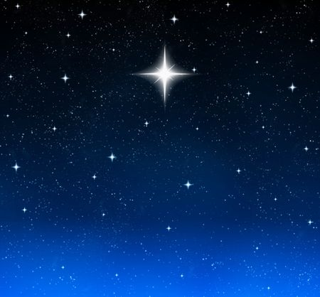 twinkles: a single bright wishing star stands out from all the rest