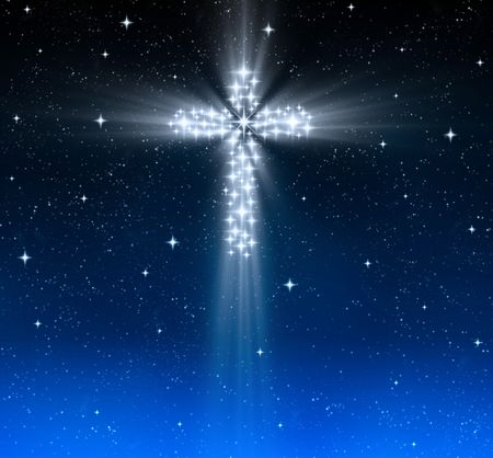 great glowing christian cross in starry night sky
