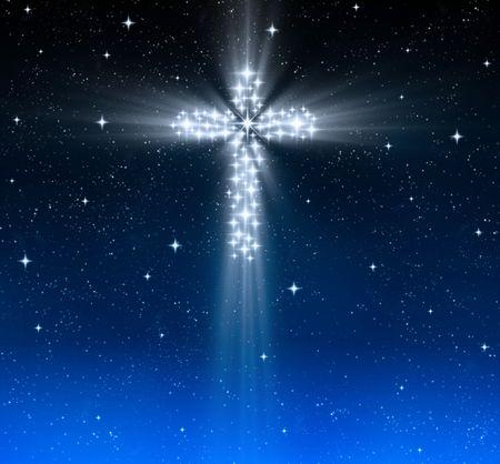 great glowing christian cross in starry night sky