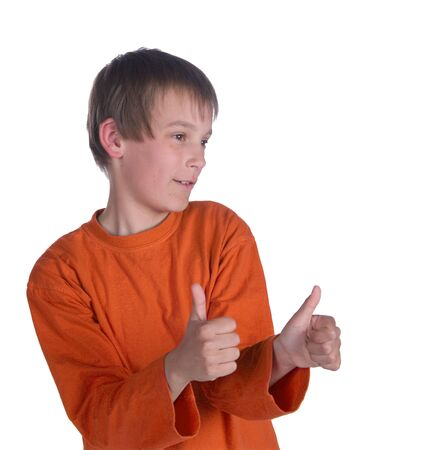 unsure: image of a boy with thumbs up on white background