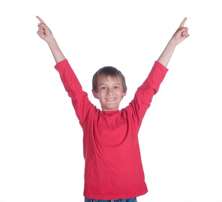 unsure: image of a boy with arms up on white background