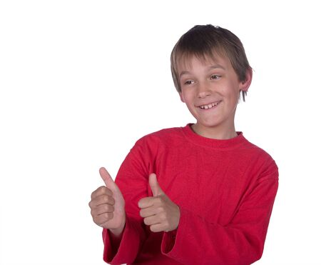 image of a boy with thumbs up on white background Stock Photo - 3705281